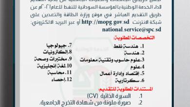 التقديم الأداء الخدمة الوطنية بالمؤسسة السودانية للنفط للعام ۲۰۲۱